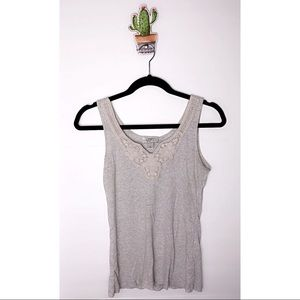 Ann Taylor LOFT tank top with crochet neck line M